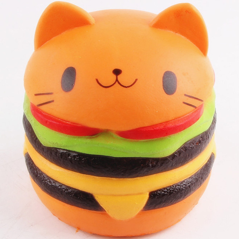 10cm kitten Cat hamburger Squishy Charm Slow Rising Scented kawaii Simulation food squeeze Antistress Fun Toy for Kid Adult ZJD