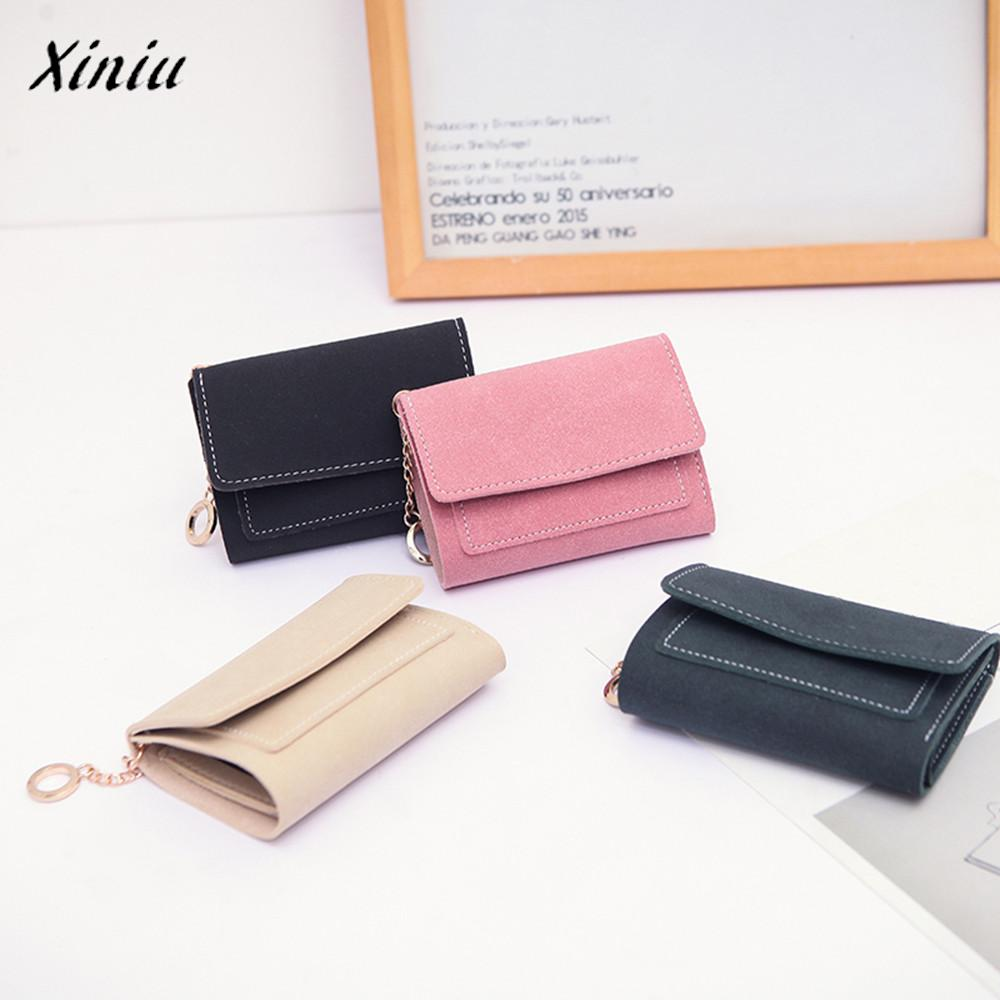 Womens Frosted Style Short Wallet Card Holder Billfold Purse Female Girls Square Clutch Wallets Fashion Short PU Hasp