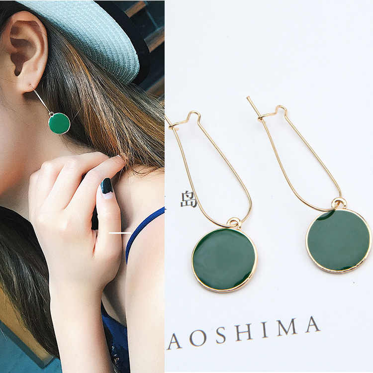 New Fashion Vintage Jewelry Women Green Circle Ear Pendants Long Drop Earrings Boucle D'oreille Pendante Femme Green Brincos