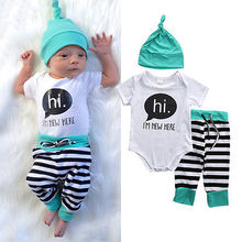 3Pcs Newborn Baby Boys Girls Clothes Rompers T-shirt Tops Pants Hats Kids Outfits Set