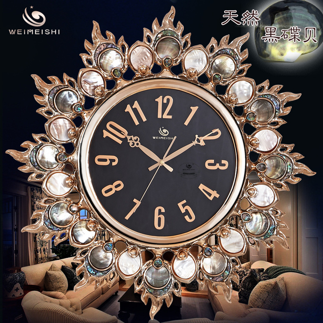 Stylish Living Room Wall Clock Mute Creative Personality Upscale Luxury Natural Black Lip Pearl Shell Rose