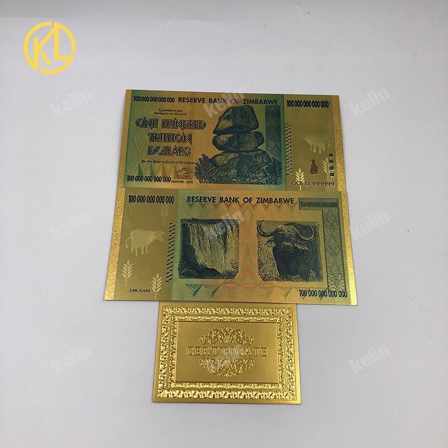 2000 stücke Simbabwe Hundert Trillion Dollar Banknote Mit 200 stücke Zertifikate Durch Fedex oder TNT-in Gold-Banknoten aus Heim und Garten bei  Gruppe 1