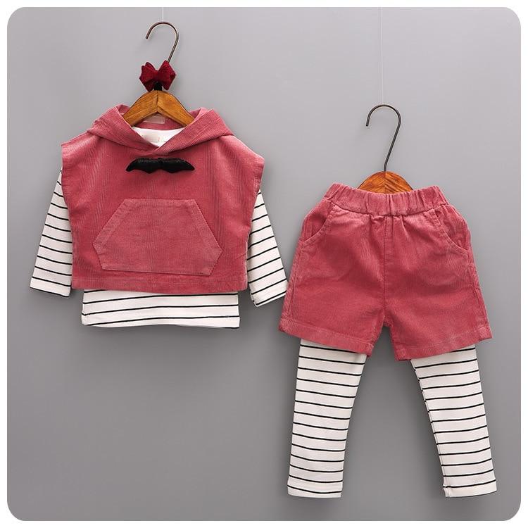 2016 Autumn Pattern 4 Set Korean Girl Children's T-Shirt Unlined Upper Garment Vest Vest Shorts Pants Suit casual cactus pattern t shirt shorts twinset for women