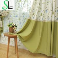 Slow Soul Light Blue Beige Green Red Wine Cotton Embroidered Floral Pastoral Tulle Curtains For Living