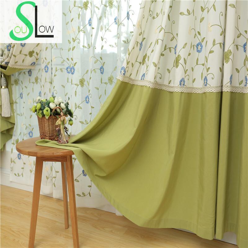 € 14.45 37% de réduction|Lent Soul bleu clair Beige vert rouge vin coton  brodé Floral pastorale Tulle rideaux pour salon cuisine chambre-in Rideaux  ...