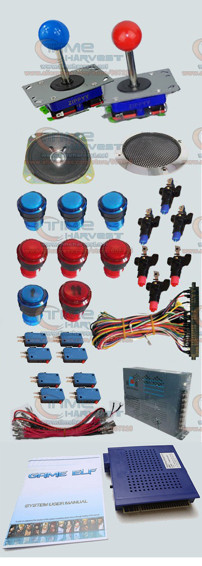 1 set Arcade parts Bundles With 412 in 1 PCB 16A Power Supply Joystick illuminated button Microswitch Speaker for Arcade Machine sanwa button and joystick use in video game console with multi games 520 in 1