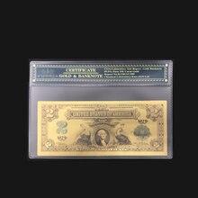 Красивые красочные банкноты США 2 доллара банкноты в 24K позолоченные с пластиковой оправой для подарка
