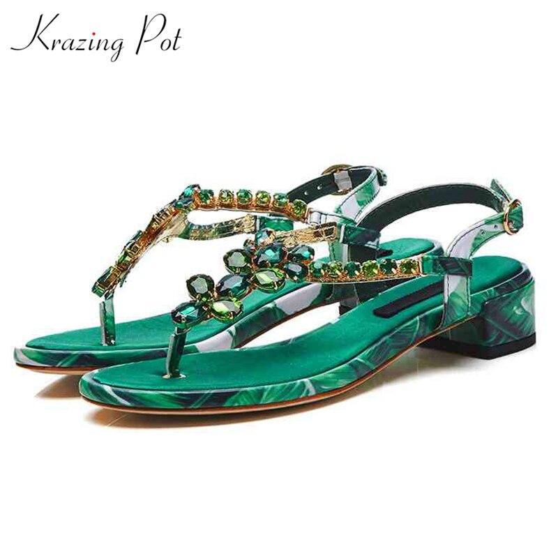 Krazing Pot 2018 recommend genuine leather bling brilliant sandals women crystal low heel diamond summer buckle straps shoes L52 цена 2017