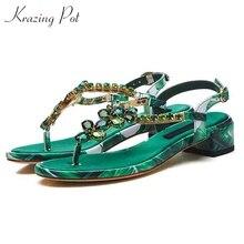 Krazing Pot 2019 recommande en cuir véritable bling brillant sandales femmes cristal talon bas diamant été boucle sangles chaussures L52