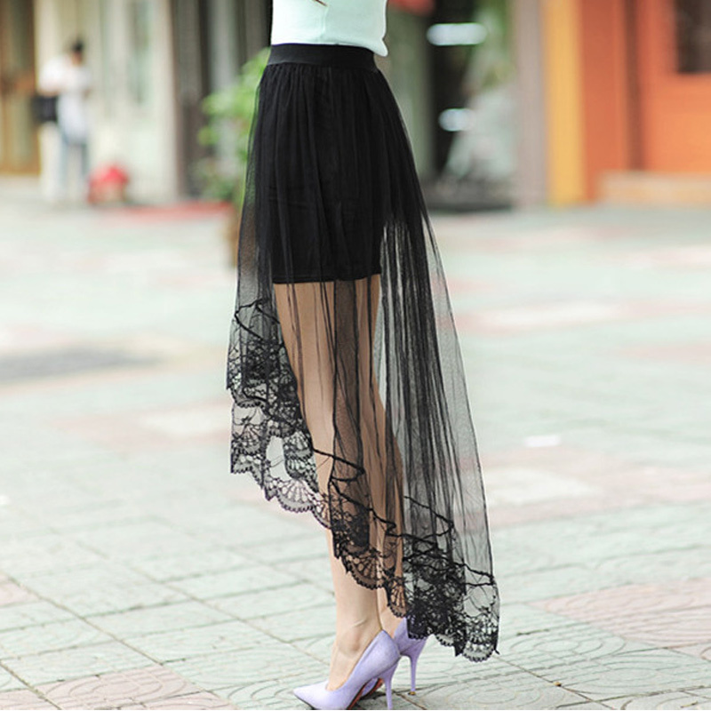 women Sexy lace tulle maxi skirt See Through long fishtail ...