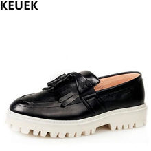 New Arrival Trend Men Flats Casual Slip-On Flat Platform Brogue Shoes  Elevator Tassels Oxfords shoes Spring Male Loafers 03 9e386b8910dd
