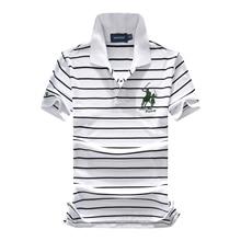 Nova chegada 2018 Novo 95% malha de algodão grandes homens de cavalo do  bordado do logotipo camisas pólo listradas moda homme 3 . 9ef018139d994