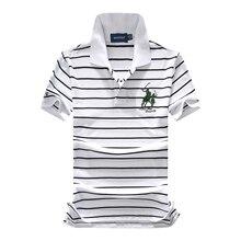 f55d2e9ff3a New 2018 pique cotton big horse men 3 golf letter embroidery logo polo  shirts striped fashion