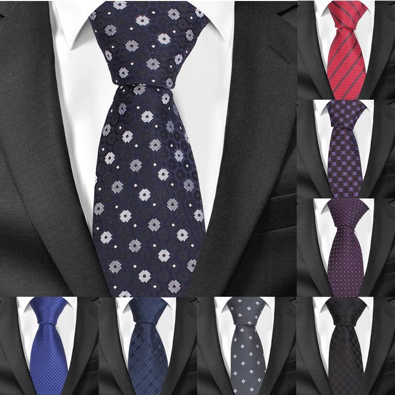Skinny Necktie Jacquard Woven Classic Ties For Men Fashion Plaid Striped Men Tie Slim Groom Neck Tie For Party Wedding