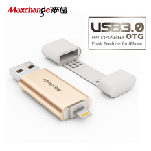 Maxchange 32G USB Flash Drive 64G Storage Flash Memory Pendrive OTG USB 3.0 128G U Disk Memory Disk For iPhone/iPad/PC Gold