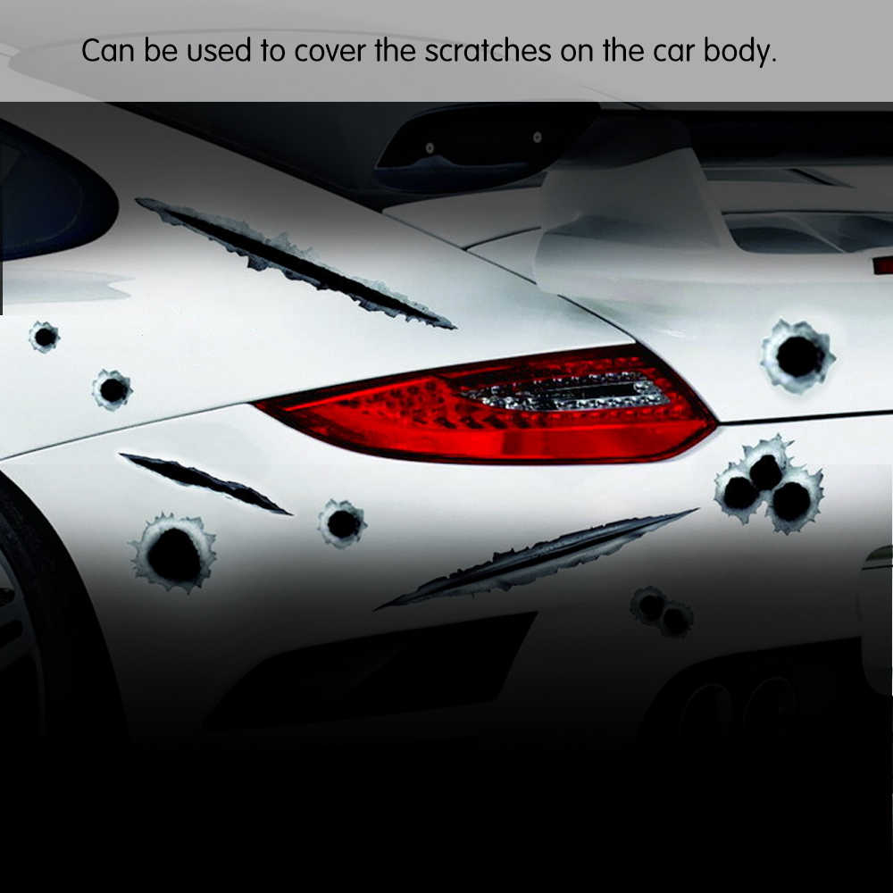 Car side stickers funny decal car covers accessories graphics auto motorcycle decoration sticker 3d bullet