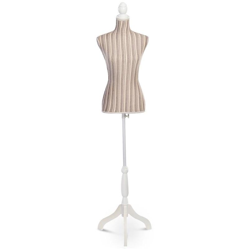 Mannequin femme forme torse présentoir avec trépied support flanelle gris styromousse pin bois Mannequins HW50080GR