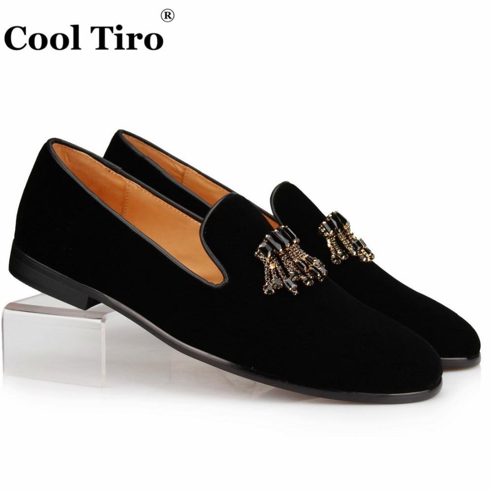 a7ea040c4d Cool Tiro Black Velour Slippers Velvet Loafers Men Dress Shoes Men's Slip  on Shoes Leather Crystal Brooch Tassels Moccasin Flats