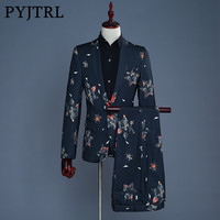 PYJTRL 2018 Tide Men Fashion Five pointed Star Print Casual Slim Fit Groom Wedding Suit Latest Coat Pant Designs Costume Homme