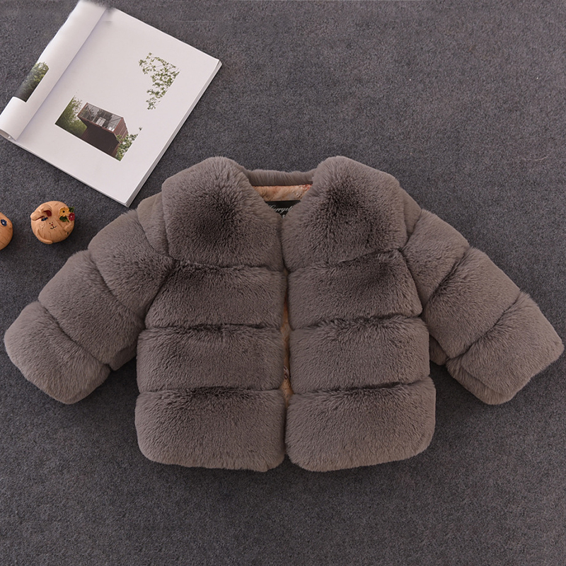 Autumn Winter Girls Faux Fur Coat Elegant Baby Girl Fur Parka Warm Children Jackets And Coats Kids Outerwear Clothes Girls Coat children autumn and winter warm clothes boys and girls thick cashmere sweaters