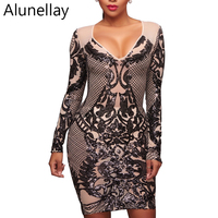 Alunellay New Arrivals Sequin Dress Women Elegant Bodycon Dresses Evening Party Long Sleeve V Neck Sparkle