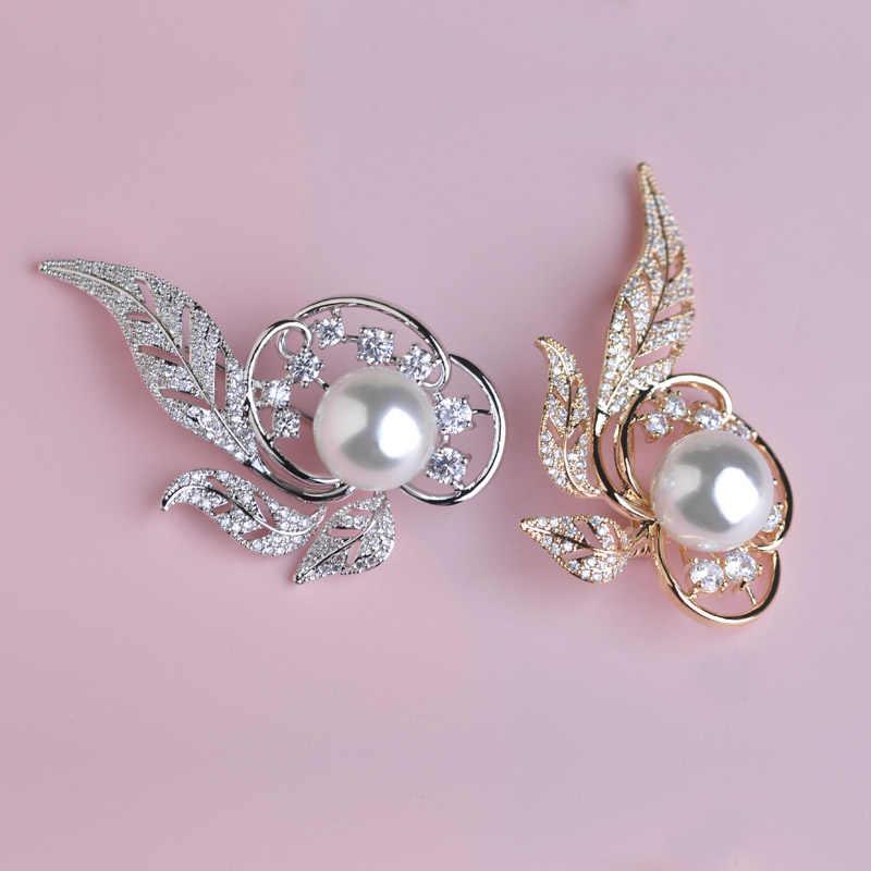 Gioielli di perle di cristallo spilla foglia regolazione del polo di rame pera spille spilla d'oro da india masculino accessori foglia spilla hijab