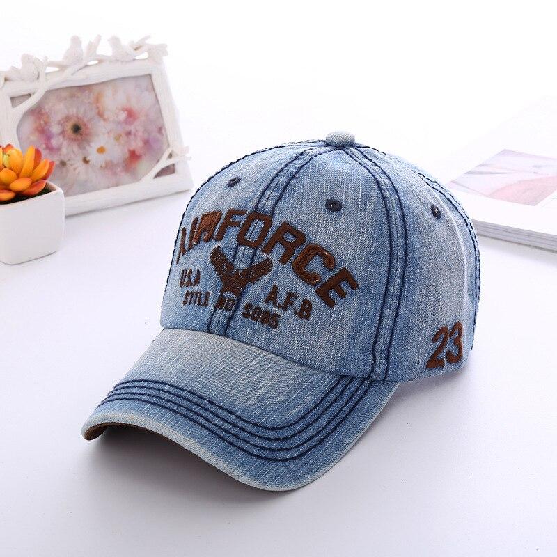 Prix pour Nouveau Mode Réglable Broderie Lettre US Air Force Denim Casquette de baseball Chapeau Hommes Femmes Rétro Armée Cowboy Snapback Caps Gorras
