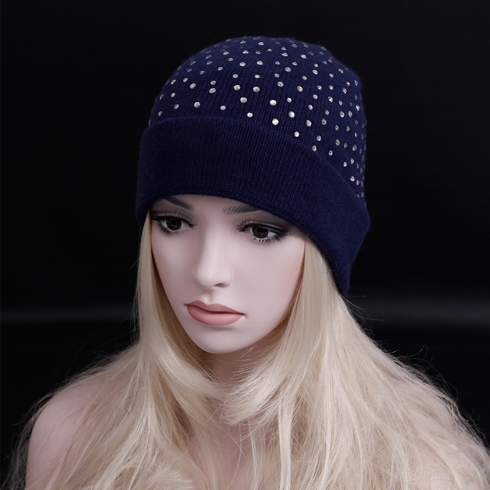 2016 New brand Autumn winter thick wool cap luxury rhinestone Beanie hat fashion women winter wool