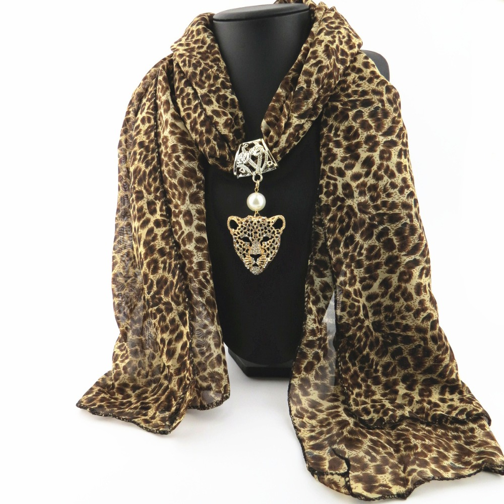 TagerWilen Pendant Scarf Necklace Owl Rivet Necklaces For Women Chiffon Leopard Scarves Jewelry Wrap Female Accessories X-01
