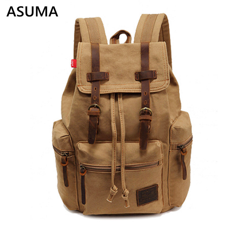 Canvas Backpack Luggage Shoulder-Bag Versatile-Bags Large-Capacity Male Cotton Functional