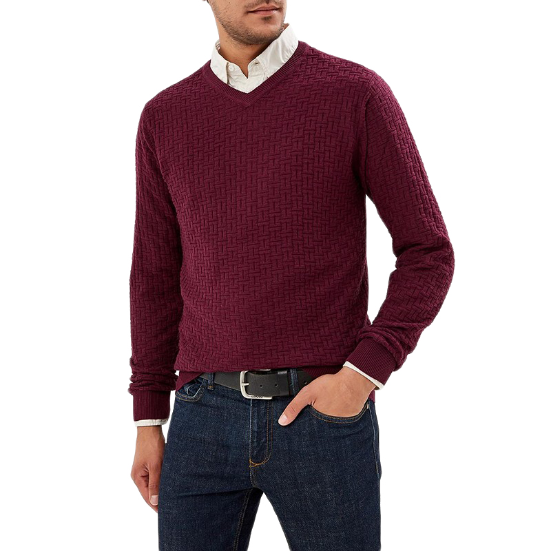 Sweaters MODIS M182M00117 jumper sweater pullover for male for man TmallFS beige cable pattern off shoulder pullover sweater