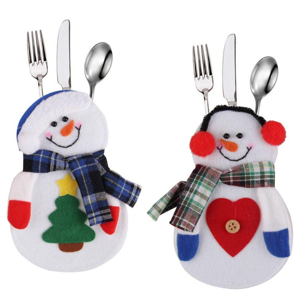 hot sales snowman christmas xmas silverware tableware dinner party decor cutlery holderchina mainland: household dining table set christmas snowman knife