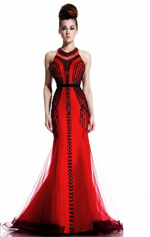 8 red sirena con cuentas vestido elegante vestido, borde negro