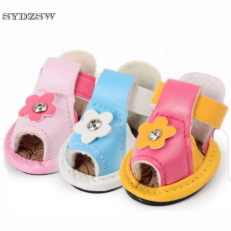 SYDZSW جديد بو أحذية الحيوانات الأليفة أحذية الكلب لطيف عباد الشمس من الماس حلوى لون الحيوانات الأليفة الصيف الصنادل مكافحة زلة يوركي الكلب الملحقات
