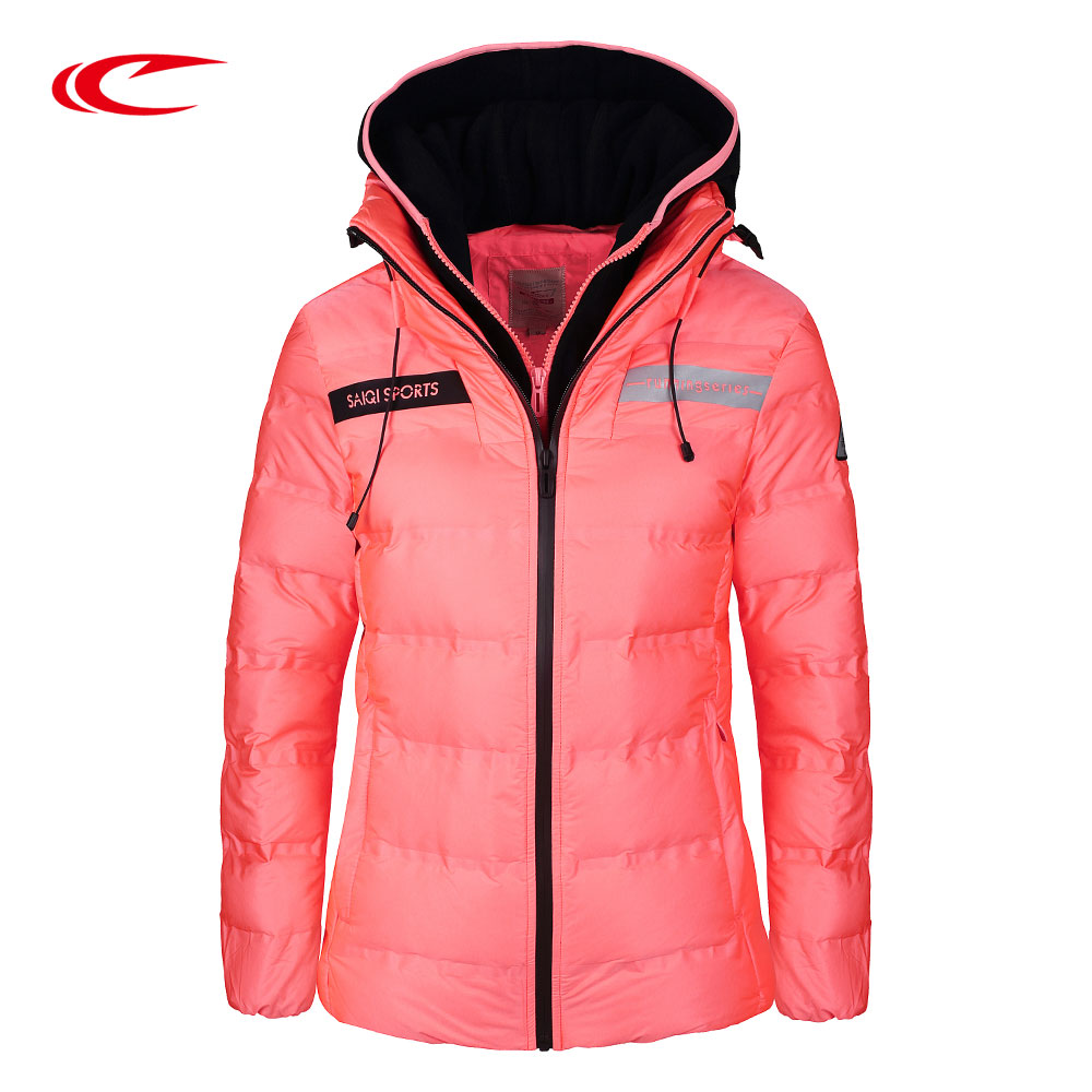 SAIQI Long Duck Down Jacket For Women Waterproof Hooded Coat Hiking Outerwear Clothes Ski Thick Jacket Outdoor Down Jacket 1020