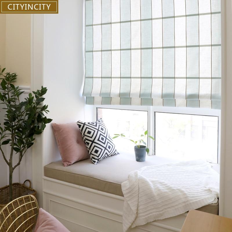 US $45.8 37% di SCONTO|CITYINCITY In stile Mediterraneo romano tenda Per  soggiorno metà Blackout romano tende a rullo per finestra Della Cucina Su  ...