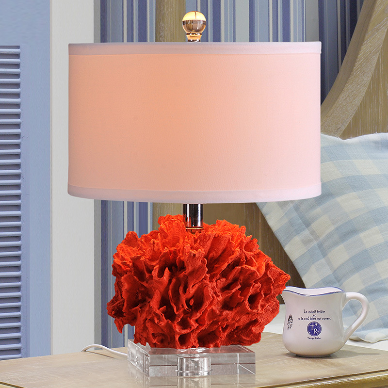 TUDA 31x44cm Free Shipping Red Coral Resin Table Lamp Art Deco Style Table Lamp Creative LED Table Lamp For living Room Bedroom