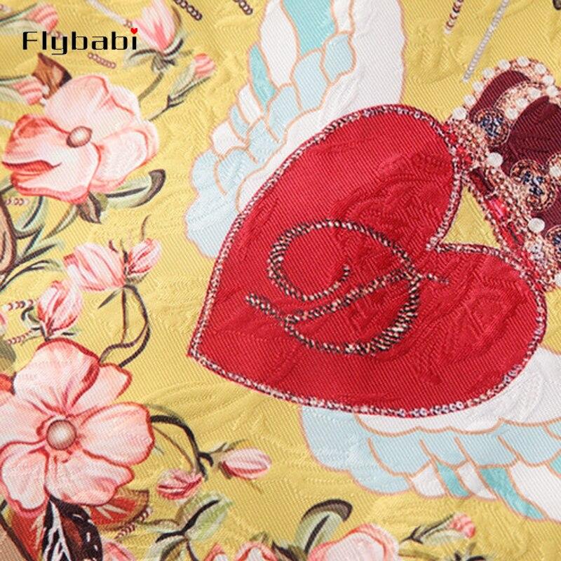 Высокое качество блестками жаккард золотой желтый принт красное сердце кнопки летают короткое пальто выше колена мини половина юбка женские наборы 2018 - 5