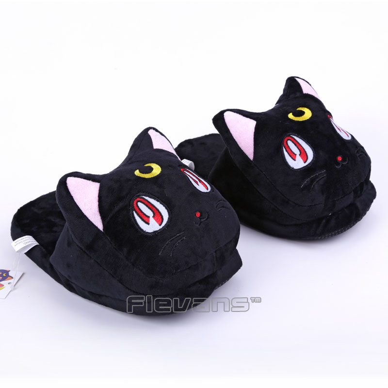 Anime Cartoon Sailor Moon Luna / Artemis Plush Slippers Shoes Home House Winter Slippers Plush Toys 3 Colors anime cartoon monster mudkip flareon snorlax adult plush slippers home winter slippers plush toys