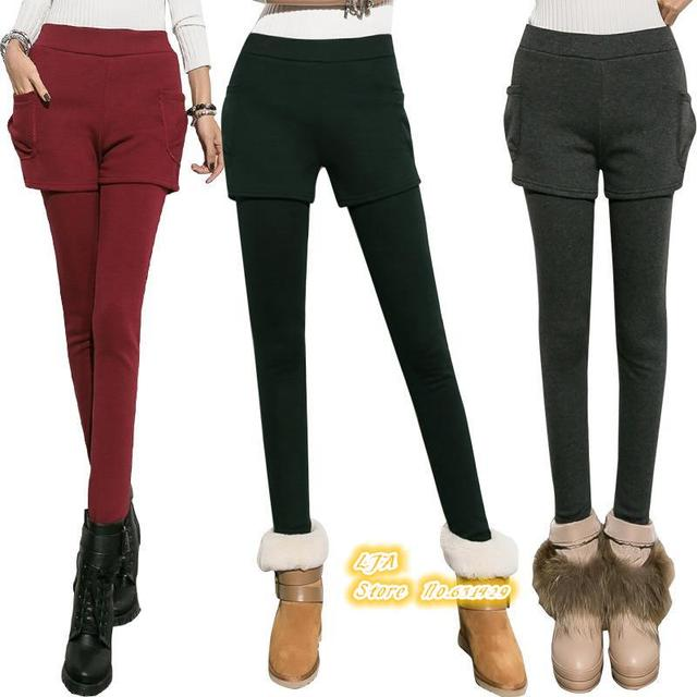 6 colors High quality Cotton False Two-piece Leggings With Mini Skirts Pantskirt Women Clothing Slim Fit Thick For Autumn winter