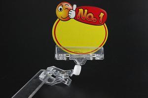 Image 3 - Supermarket Shelf Talker Clear plastic sign holder POP Clip Advertising Display Stand Label Holder Price Tag Display Card Clamp