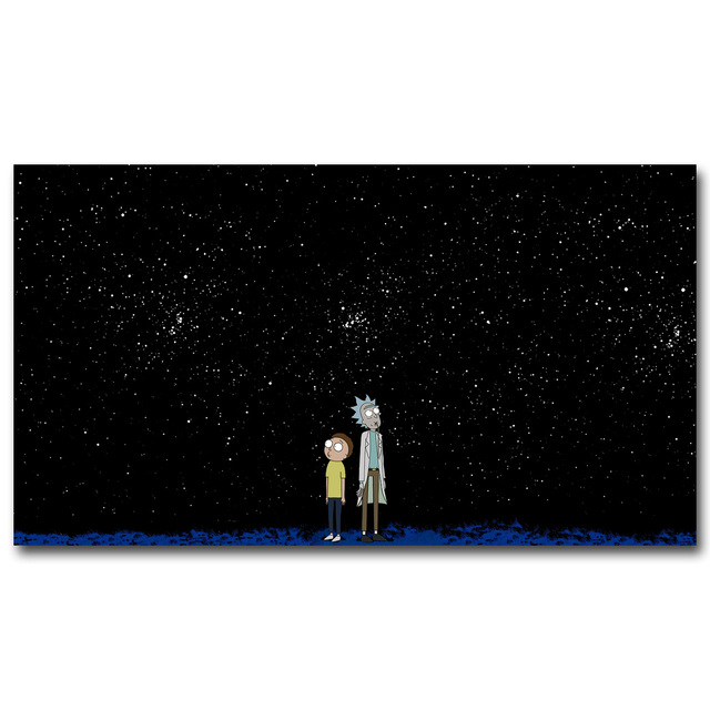 Rick and Morty Starry Night Art Silk Poster Fabric Print 12×21 24×43 inches Anime Cartoon Funny Wall Picture Home Room Decor