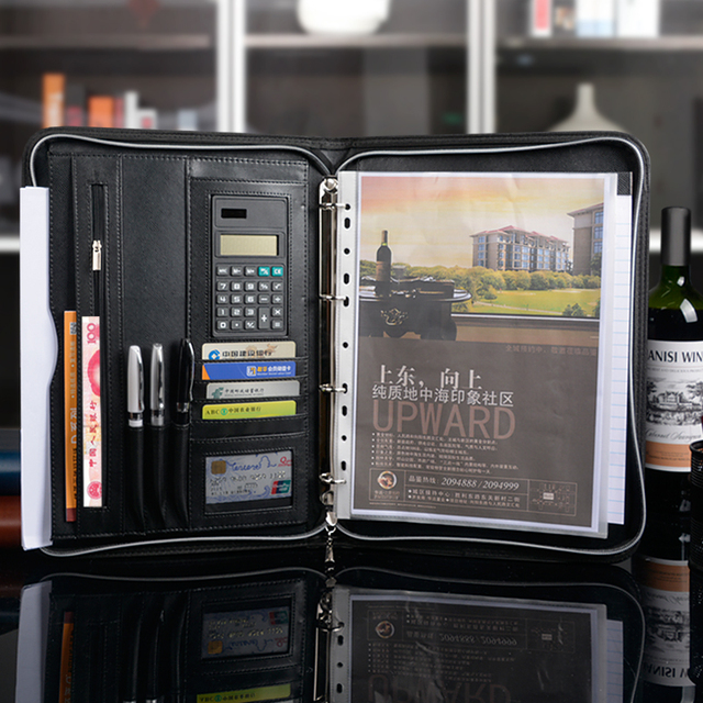 Free shipping  multifunction leather  Business Conference A4  contract folder with Calculator