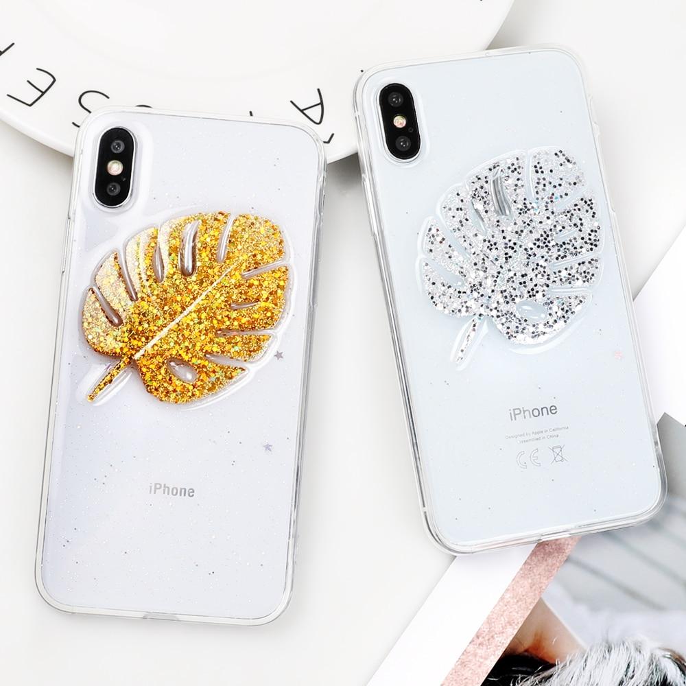 Cute Banana Leaves Phone Iphone 6 6S 7 8 Plus X Epoxy Soft TPU Transparent Anti-Knock Phone Back Cover Coque