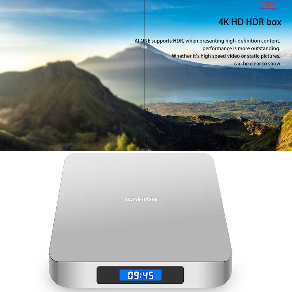 SCISHION AI uno Android 8,1 TV Box 4 GB/32 GB 2G/16G WiFi Bluetooth HD reproductor multimedia pantalla inteligente inalámbrica con Control de voz