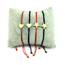 Счастливый браслет желаний Золотой Крест Сердце Звезда Шарм шнур браслет для женщин детей регулируемый браслет ручной работы