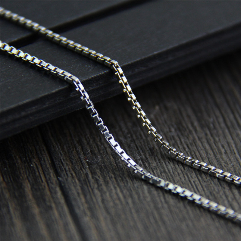 S925 Silver Necklace sweater chain silver box male and female nude 1.5MM