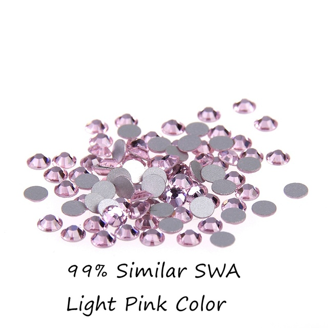 Glitter Rhinestones de Cristal 14 Facetas Rosa Claro Strass SS12 SS16 Piedras Para Uñas Arte 99% Swa Similares