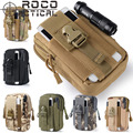 ROCOTACTICAL Mens Tactical Waist Packs Compact MOLLE EDC Hunting Bag Molle Tactical Waist Organizer Army Green CP