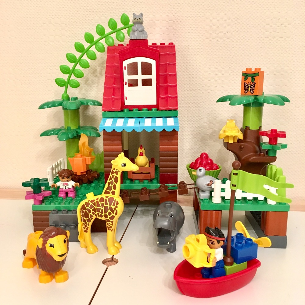 Building Blocks DIY Figure Jungle Animals Large Size Bricks Baby Gift Compatible With Legoingly Duploe Kids Toys Christmas Gift 26pcs highway bridge blocks set large train railway building blocks kids diy toys compatible with duploe children gift